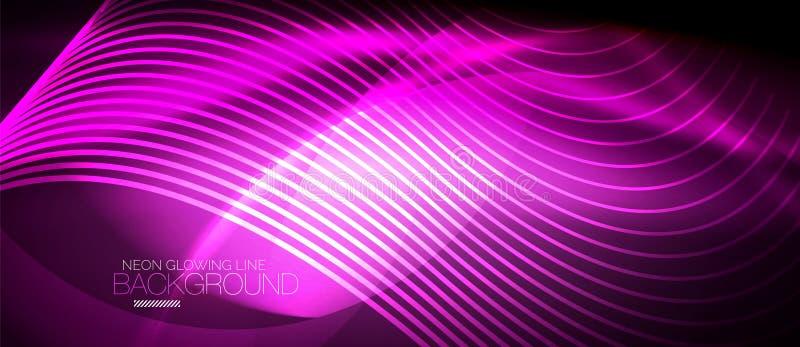 Digitale abstracte achtergrond van de neon de purpere vlotte golf stock illustratie