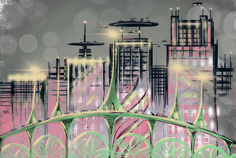 Digitale abstracte illustratie Futuristische stad in kleur Bedrijfs wolkenkrabbers Het architecturale hologram van de technologie royalty-vrije illustratie