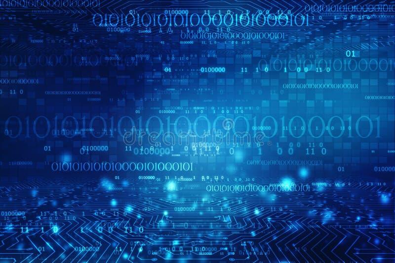 Digitale abstracte technologieachtergrond, Binaire code digitale illustratie royalty-vrije stock afbeelding