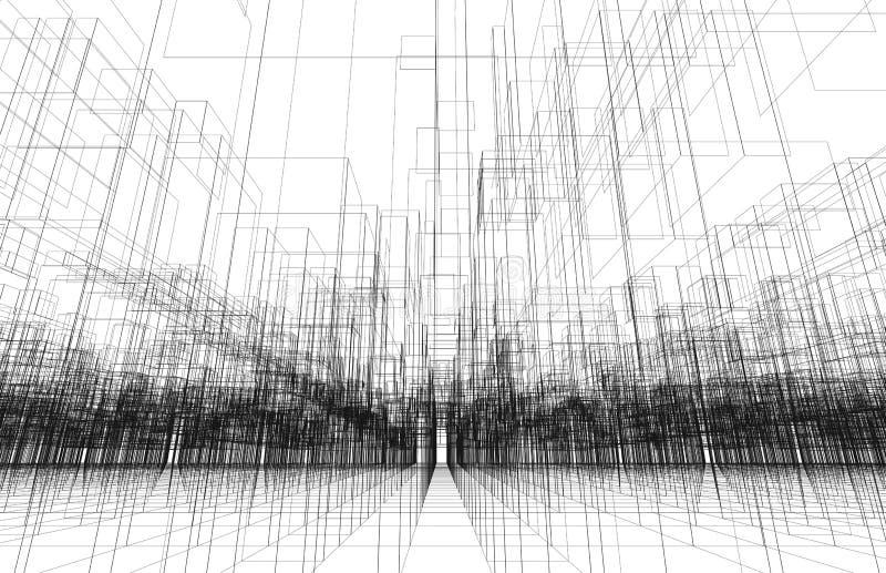 Digitale achtergrond met 3d cityscape van het draadkader royalty-vrije illustratie