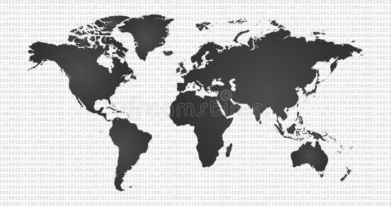 Digitale achtergrond met wereldkaart, informatiewereld, cyber veiligheid, digitaal binair technologieconcept vector illustratie