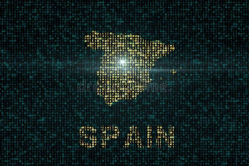 Digitale achtergronden met het land van de kaart van Spanje stock illustratie