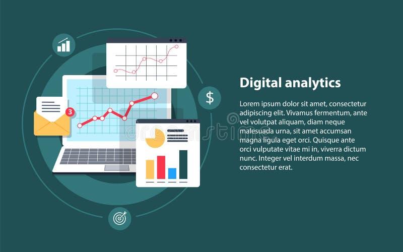 Digitale analytics, Grote gegevensanalyse, gegevenswetenschap, marktonderzoek, toepassing vector illustratie