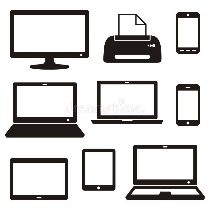 Digitale apparatenpictogrammen vector illustratie