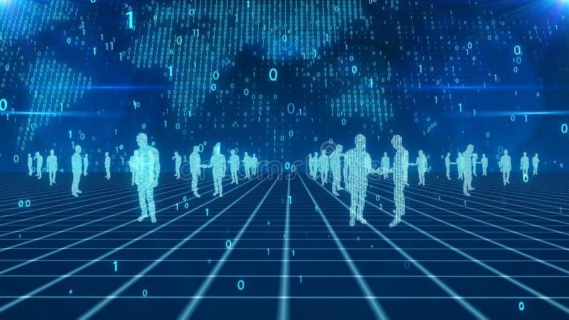 Digitale bedrijfsmensen in virtuele wereld vector illustratie