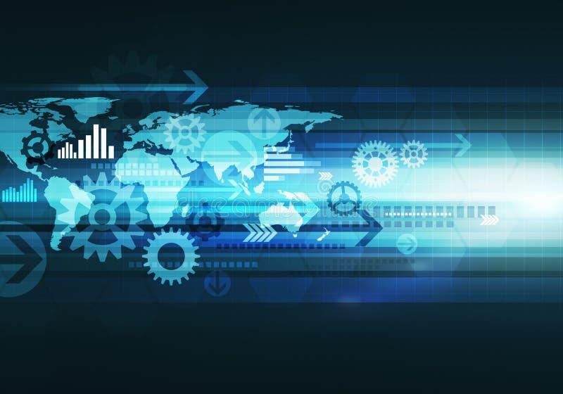 Digitale bedrijfstechnologieachtergrond met wereldkaart, pijl en royalty-vrije stock foto