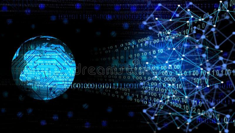 Digitale blauwe gegevensbanen De technologie van het wereldnetwerk Technologiemededeling royalty-vrije illustratie