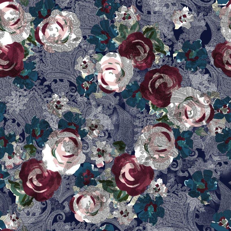 Digitale Blume und Paisley des nahtlosen Aquarells stock abbildung