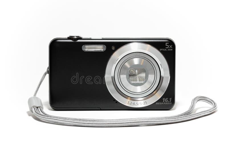 Digitale compacte camera met riem stock foto