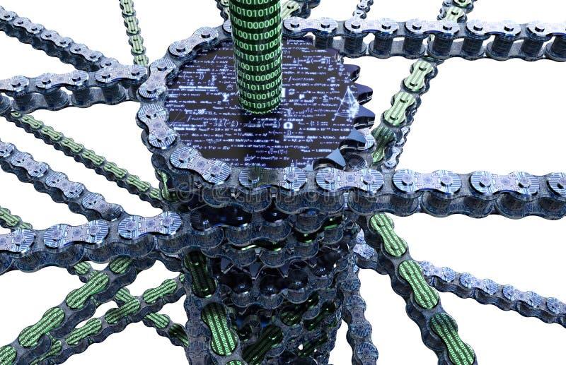 Digitale computer blockchain op wit stock illustratie