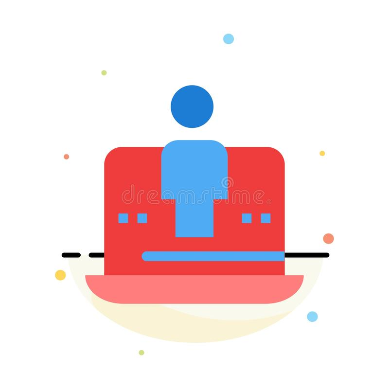 Digitale computer, Laptop, Technologie, Marketing het Abstracte Vlakke Malplaatje van het Kleurenpictogram royalty-vrije illustratie