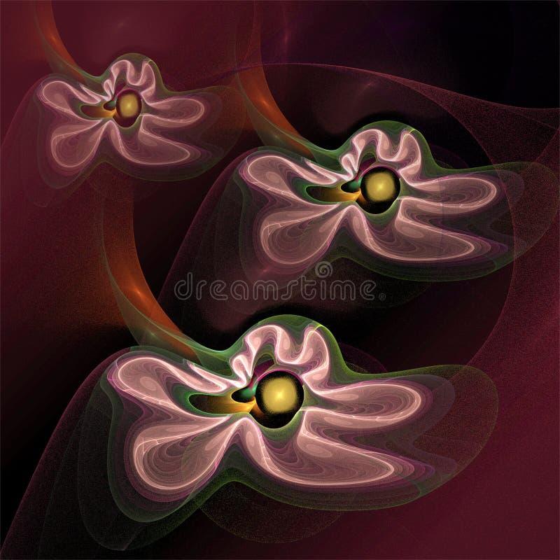 Digitale computerfractal kunst abstracte fractals drie vliegende roze bloemen vector illustratie