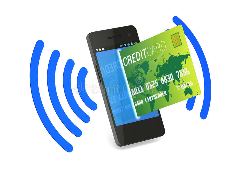 Digitale Creditcard NFC stock illustratie