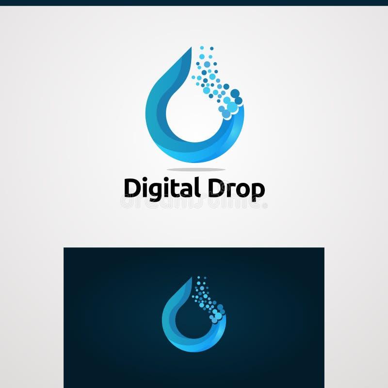 Digitale daling in concept, het pictogram, het element, en het malplaatje van het kleuren het blauwe embleem vector vector illustratie