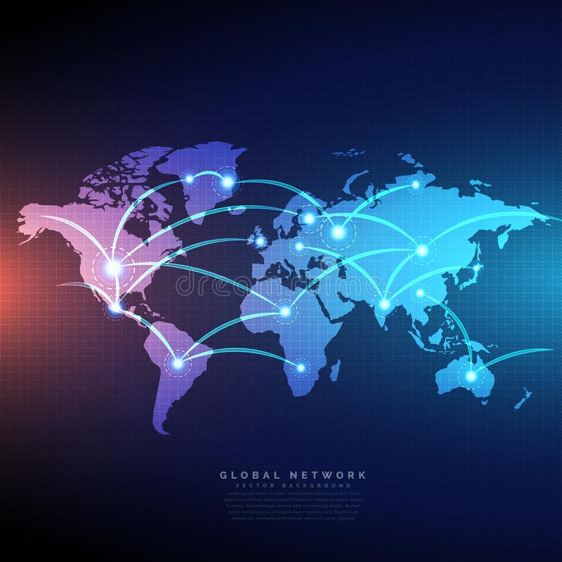 Digitale die wereldkaart door het netwerkontwerp van lijnenverbindingen wordt verbonden vector illustratie