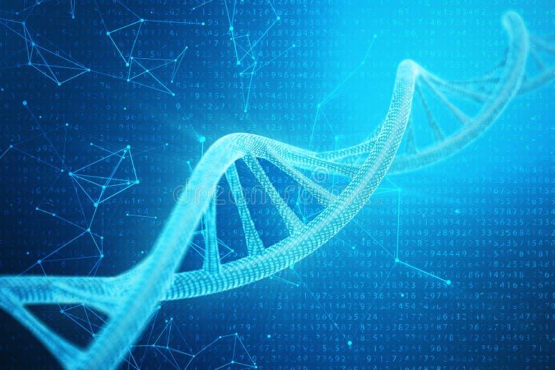 Digitale DNA-molecule, structuur Het menselijke genoom van de concepten binaire code DNA-molecule met gewijzigde genen 3D Illustr stock illustratie