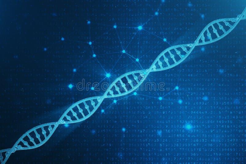 Digitale DNA-molecule, structuur Het menselijke genoom van de concepten binaire code DNA-molecule met gewijzigde genen 3D Illustr stock afbeelding