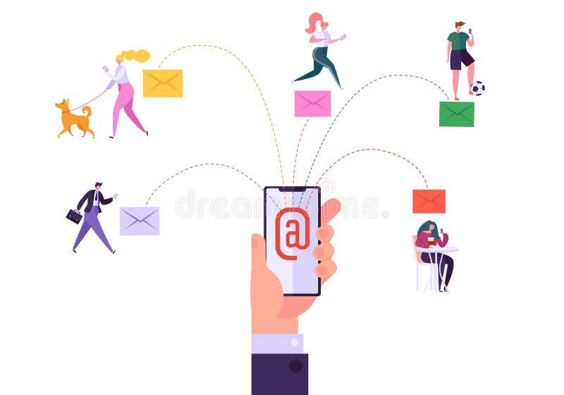 Digitale E-mailmedia die Concept op de markt brengen Lopende Digitale Promotiecampagne, Directe het Leveren Reclame van Smartphon royalty-vrije illustratie