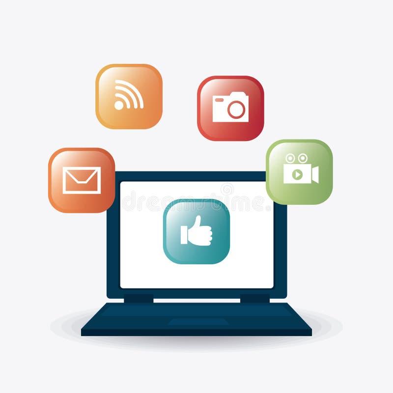 Digitale en sociale marketing strategieën stock illustratie