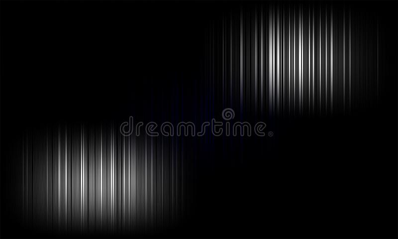 digitale equaliser audio correcte golven op zwarte achtergrond, stereo correct effect signaal stock illustratie