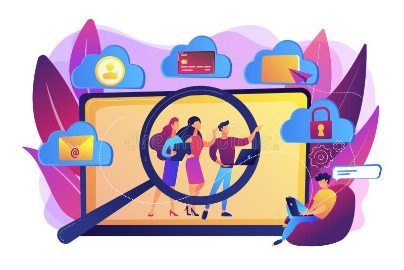 Digitale ethiek en privacyconcepten vectorillustratie stock illustratie