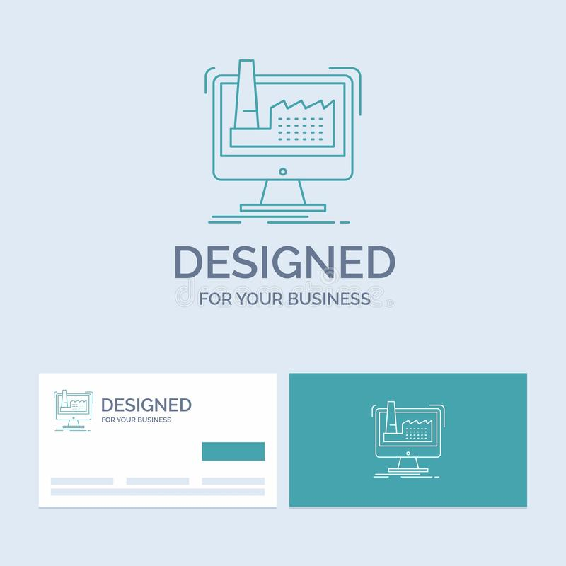 digitale, fabbrica, fabbricazione, produzione, affare Logo Line Icon Symbol del prodotto per il vostro affare Biglietti da visita illustrazione di stock