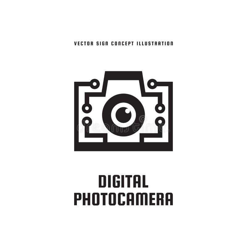 Digitale fotocamera - het malplaatje vectorillustratie van het conceptenembleem Teken van het fotografie het creatieve pictogram  royalty-vrije illustratie
