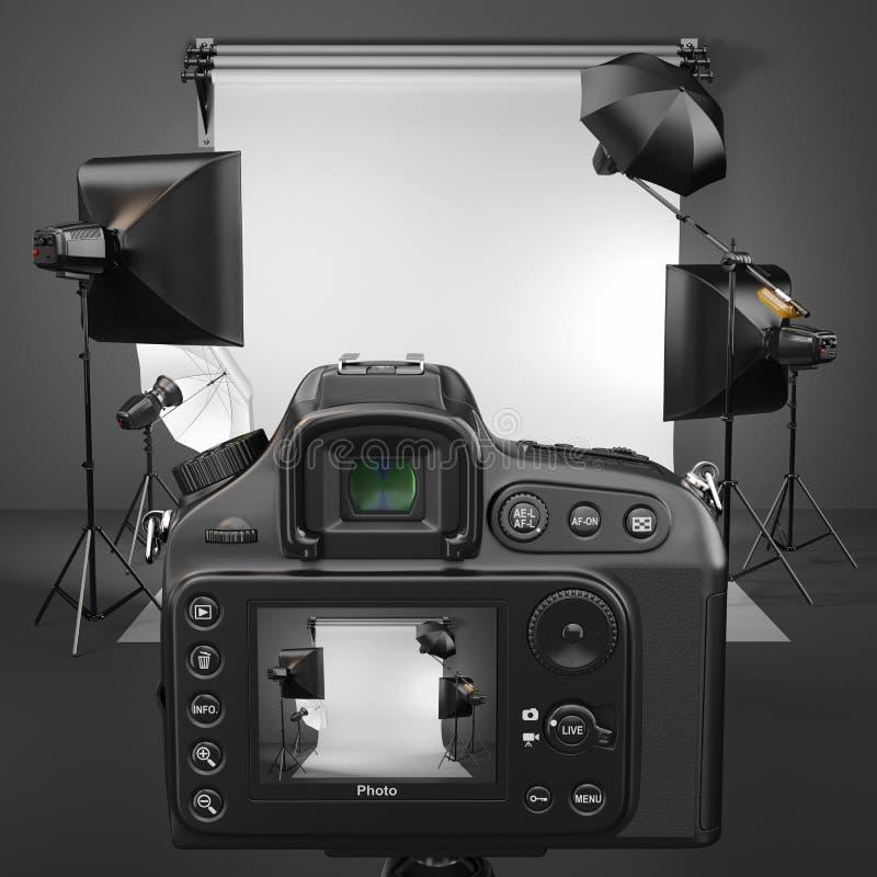 Digitale fotocamera in studio met softbox en flitsen. vector illustratie