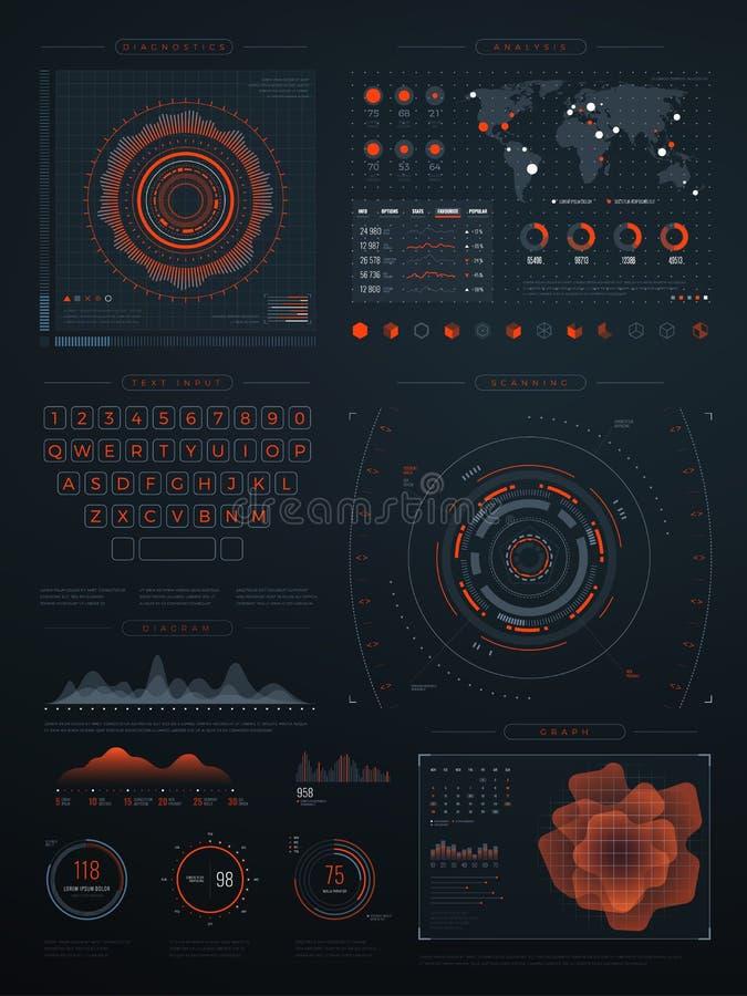 Digitale futuristische hud virtuele interface Het vectortechnologiescherm met gegevensgrafieken stock illustratie