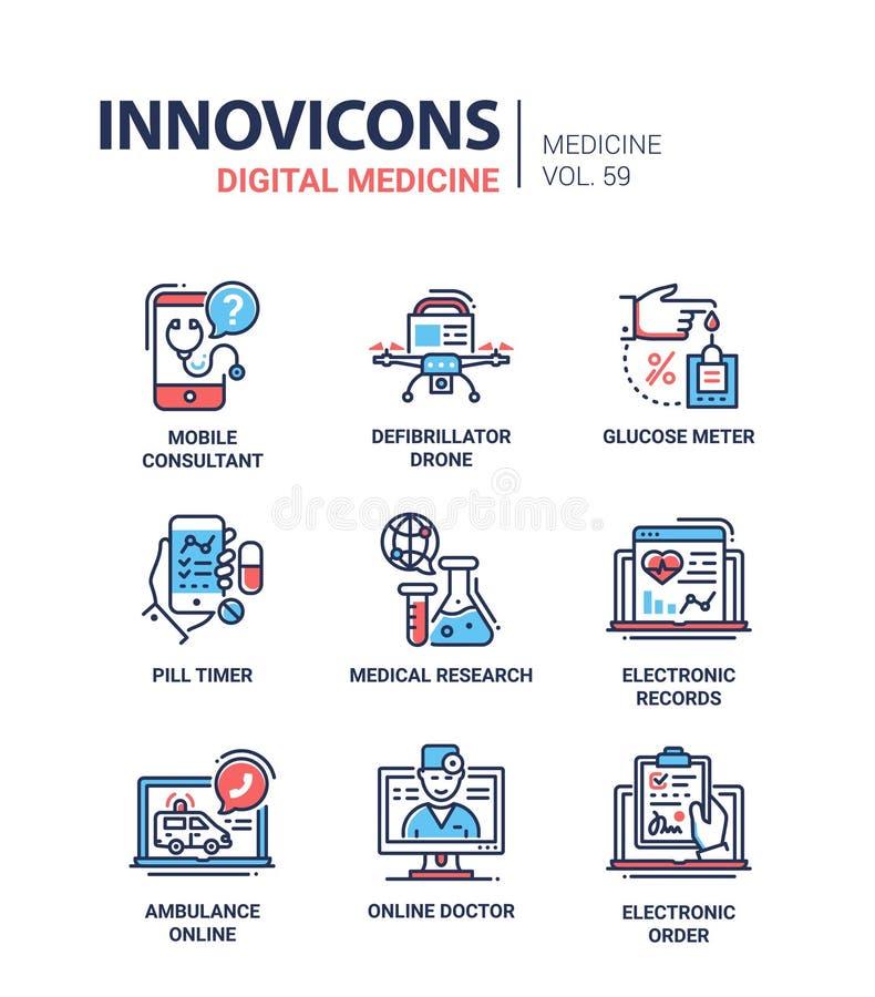 Digitale geneeskunde - geplaatste de pictogrammen van het lijnontwerp vector illustratie