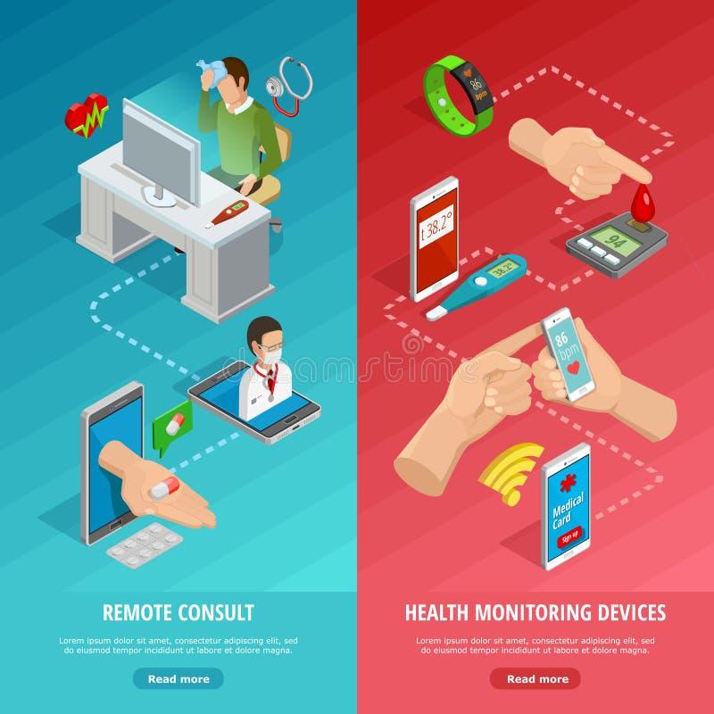 Digitale Gezondheids Isometrische Verticale Banners royalty-vrije illustratie