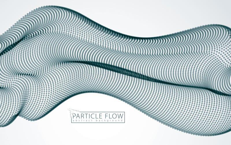 Digitale golf van stromende deeltjes in motie Vectorsamenvatting gre vector illustratie