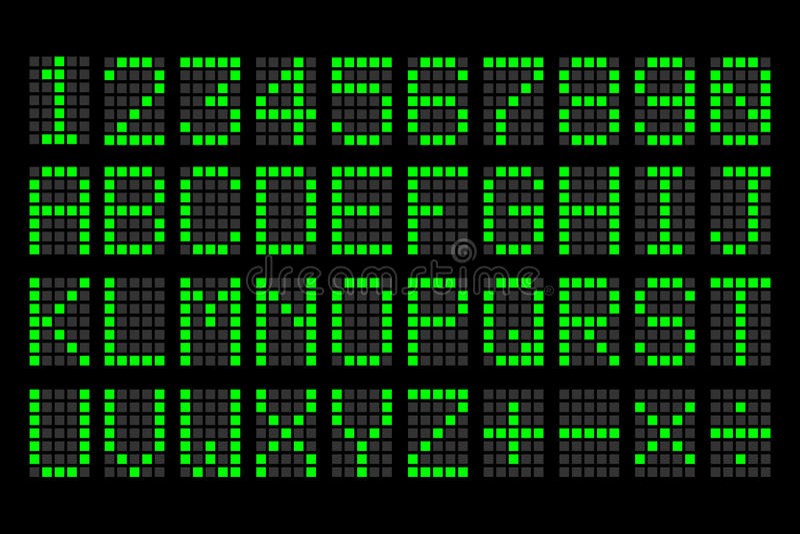 Digitale groene letters en getallen vertoningsraad vector illustratie