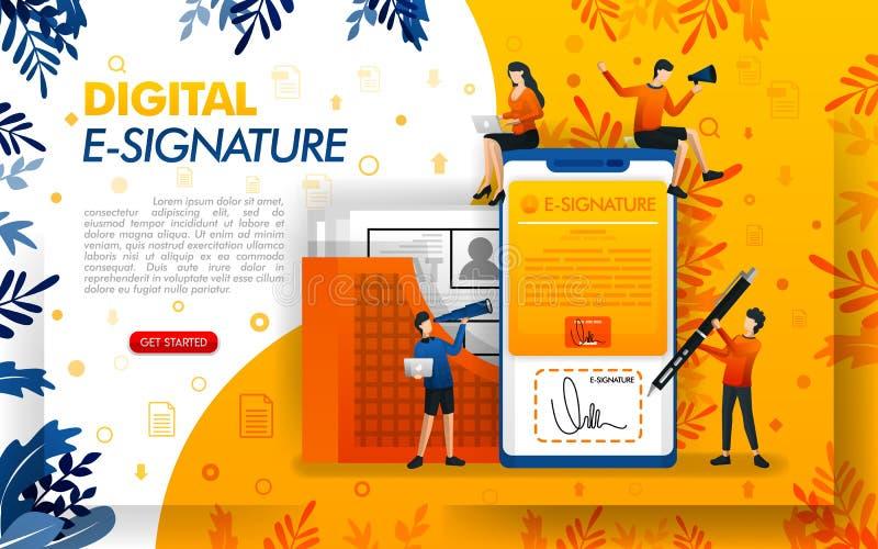 Digitale handtekening voor documentveiligheid E-handtekeningen voor bedrijfsdoeleinden en het maken van overeenkomsten, concepten vector illustratie