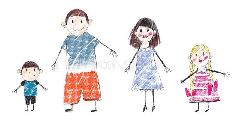 Digitale het beeldverhaalfamilie van de roosterillustratie in kleur op witte achtergrond Papa, mamma, zoon en dochter in de zomer vector illustratie
