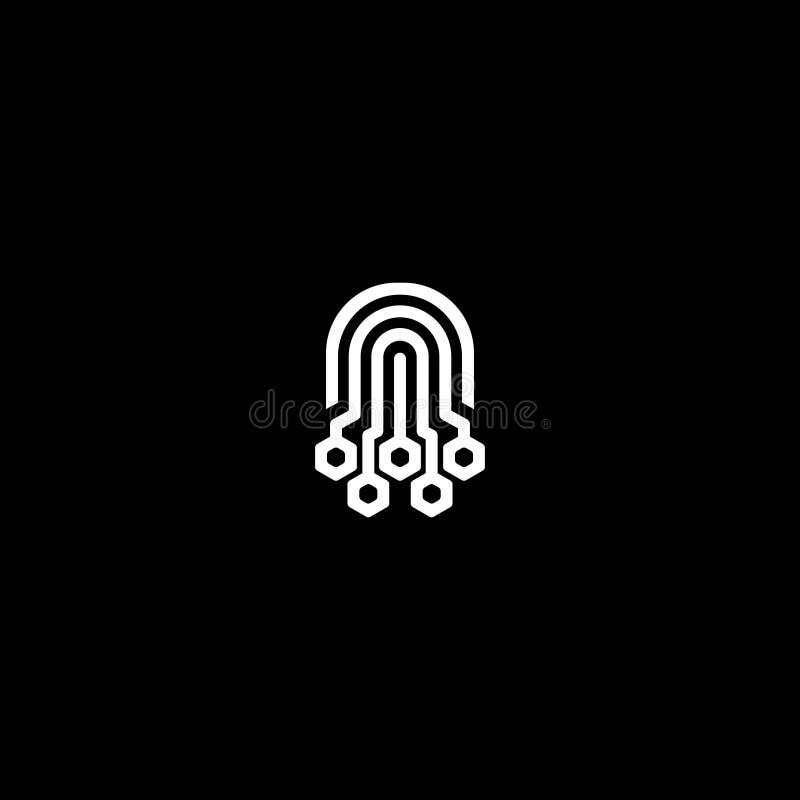 Digitale het malplaatjevector van het Octopusembleem stock illustratie