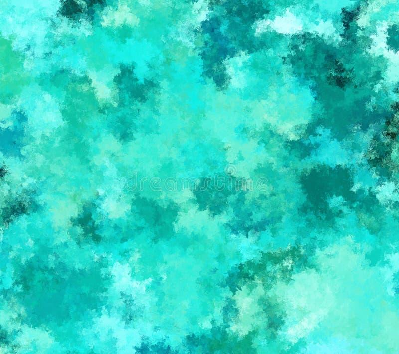 Digitale het Schilderen Abstracte Achtergrond in Turkooise Kleur stock illustratie