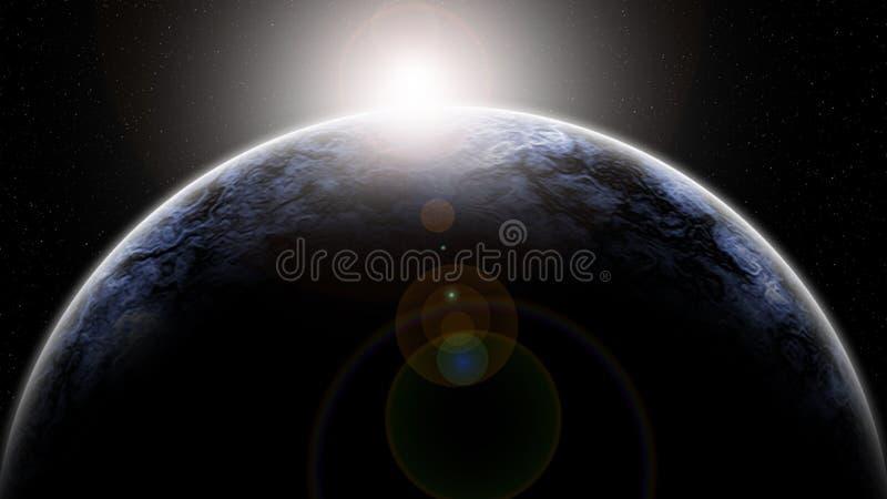 Digitale het Schilderen Abstracte Melkwegachtergrond - Dawn op een Planetarische Horizon in Diepe Ruimte vector illustratie