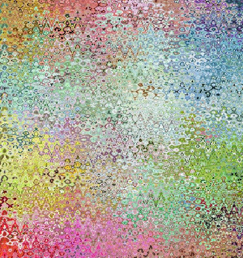 Digitale het Schilderen Abstracte Veelkleurige Chaotische Golvende Vormen op Pastelkleurenachtergrond royalty-vrije illustratie