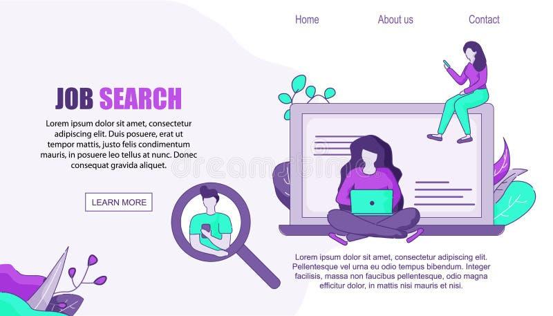 Digitale Hulp voor Baan die op Mobiele PC zoeken, stock illustratie