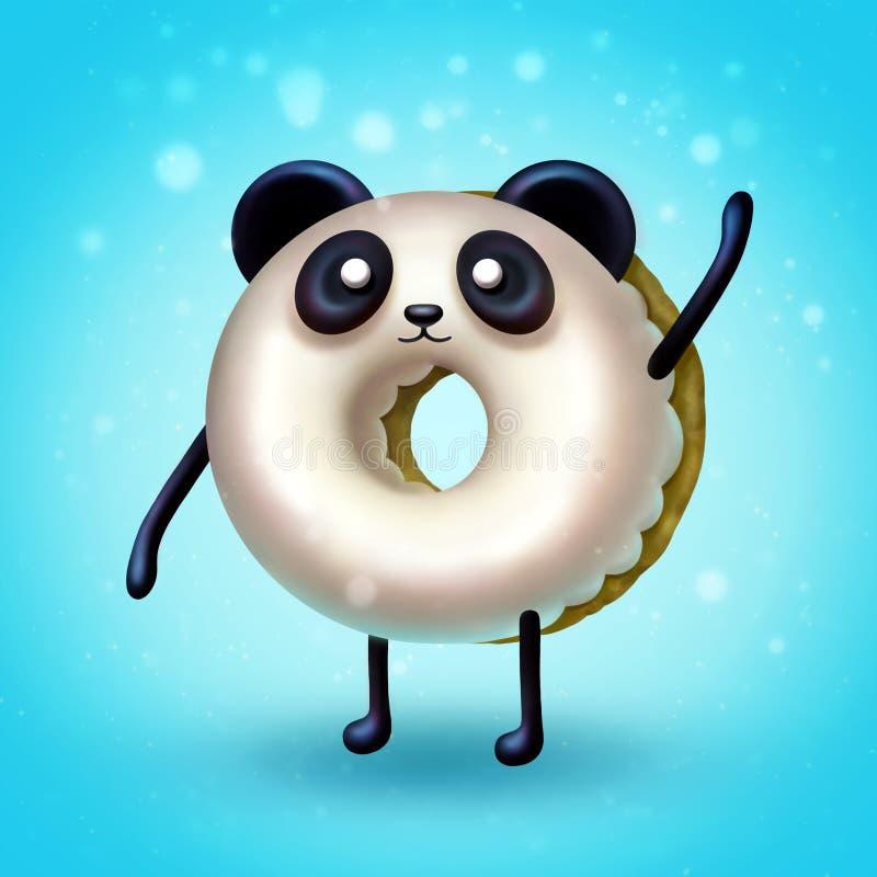 Digitale illustratie die van Doughnutpanda zijn poot golven vector illustratie