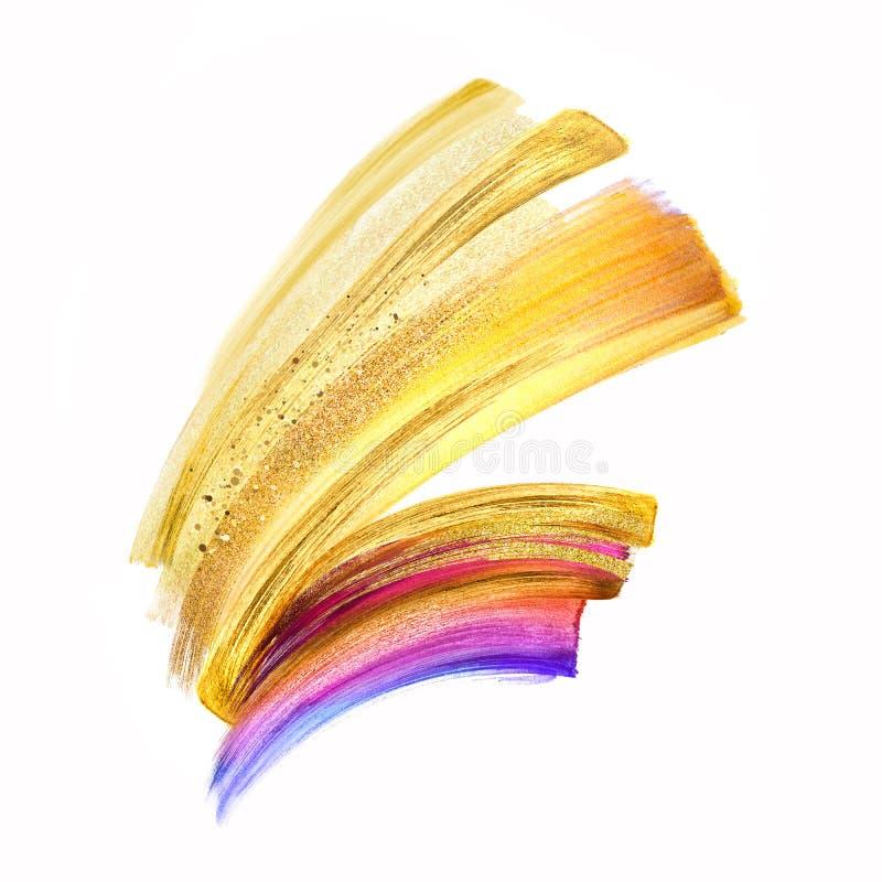 Digitale illustratie, gele gouden die kwaststreekillustratie op witte achtergrond, waterverfvlek, veelkleurige neonverf wordt ge stock illustratie