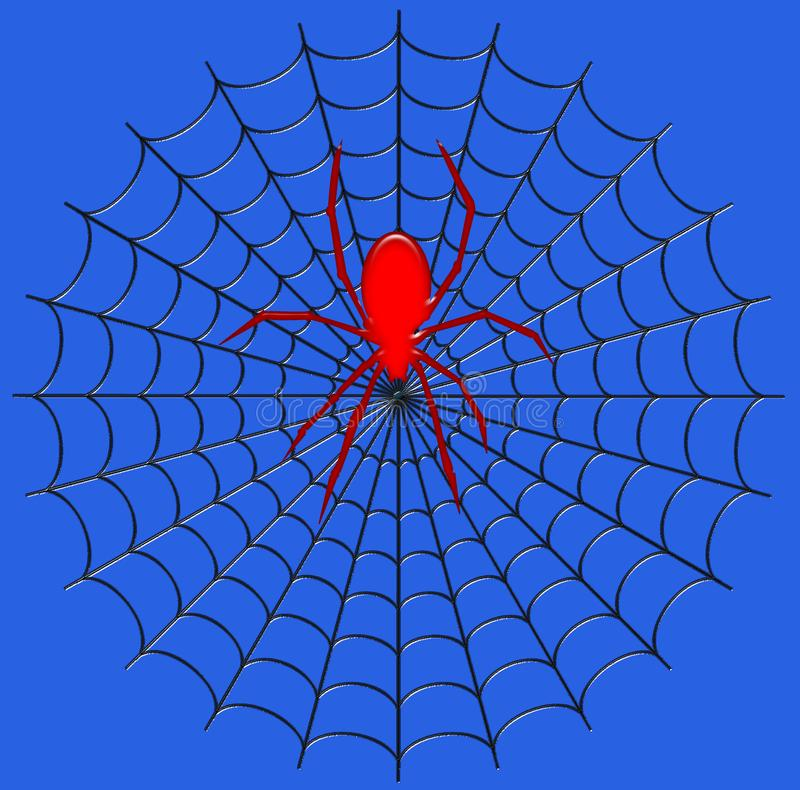 Digitale illustratie insect Een reuzespin op zijn Web stock foto