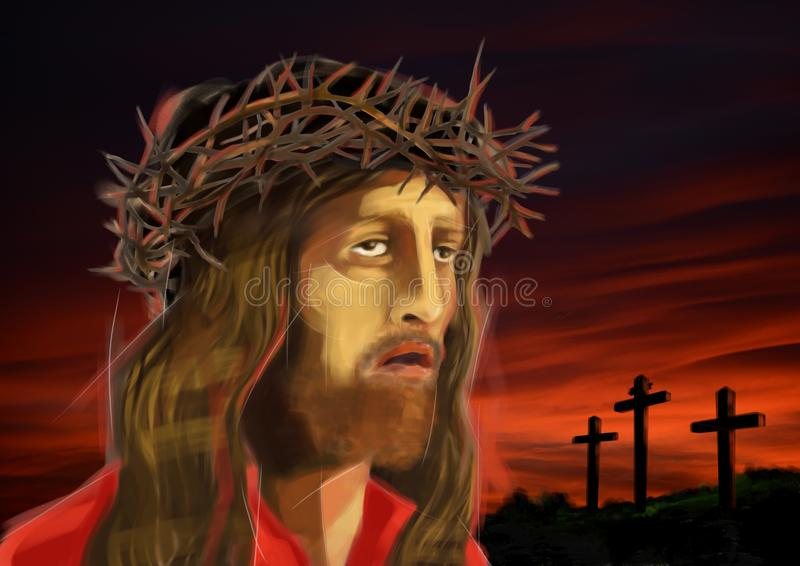Digitale illustratie van €™s gezicht Jesus Christâ, op roodachtige zonsondergang royalty-vrije illustratie