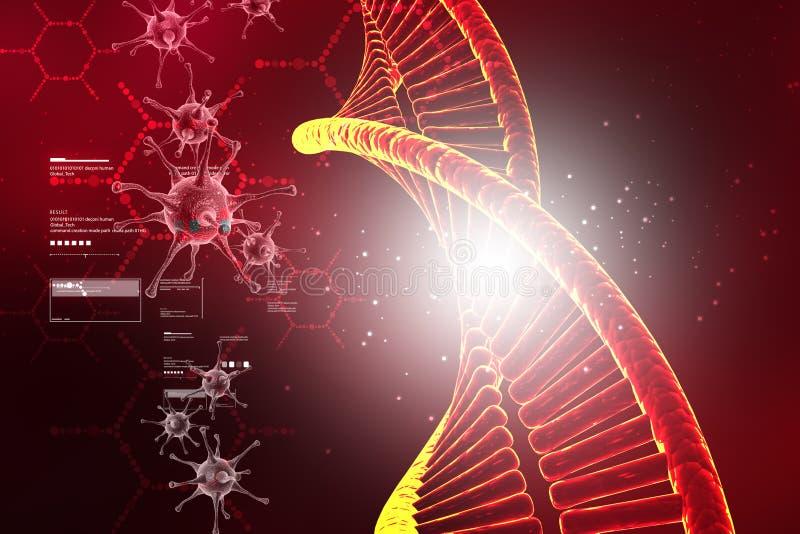 Digitale illustratie van DNA-structuur met virus royalty-vrije illustratie