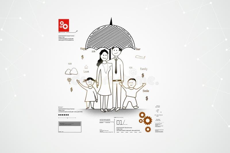 Digitale illustratie van het concept van de Familieveiligheid royalty-vrije illustratie