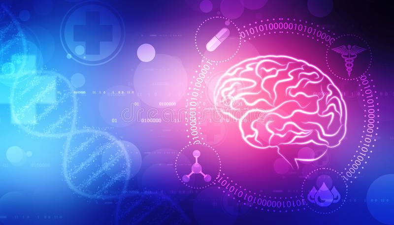 Digitale illustratie van Menselijke hersenenstructuur, de Creatieve achtergrond van het hersenenconcept, innovatieachtergrond vector illustratie
