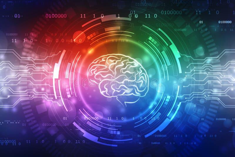 Digitale illustratie van Menselijke hersenenstructuur, de Creatieve achtergrond van het hersenenconcept, innovatieachtergrond royalty-vrije stock foto's