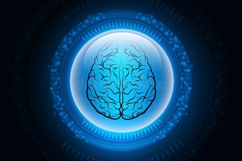 Digitale illustratie van Menselijke hersenenstructuur op kleurenachtergrond stock illustratie