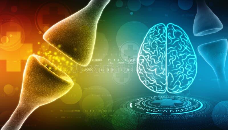Digitale illustratie van Synaps op Medische achtergrond 3d geef terug royalty-vrije illustratie